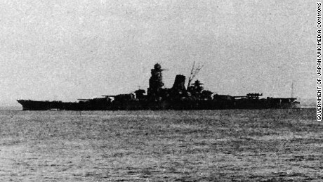 The Yamato-class battleship Musashi is pictured in 1944 leaving Brunei for the Battle of Leyte Gulf.