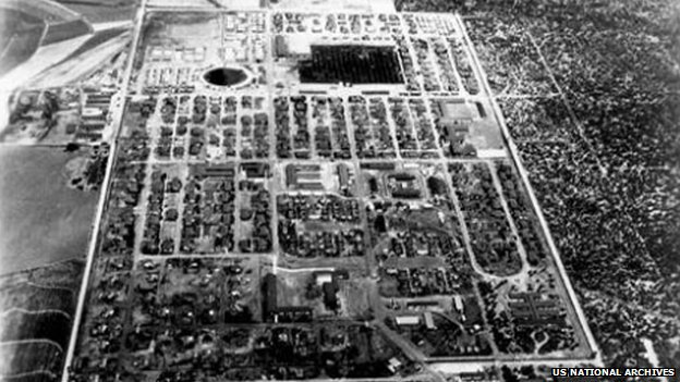 Undated aerial view of Crystal City Internment Camp, Texas