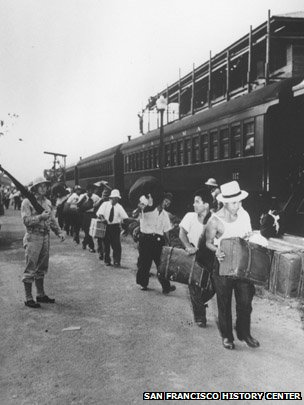 Italian, German and Japanese residents of Latin America are seen leaving a temporary internment camp in the Panama Canal Zone