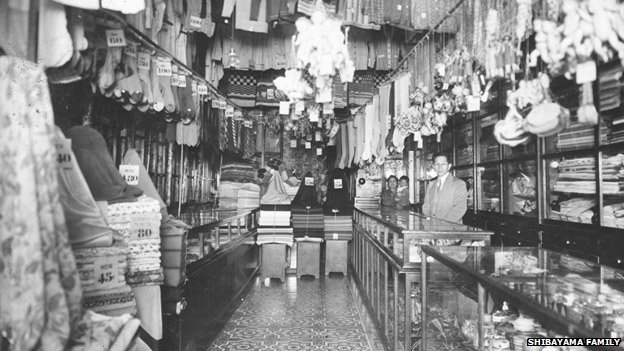 An undated photo of a  relative of Art Shibayama in his shop in Peru
