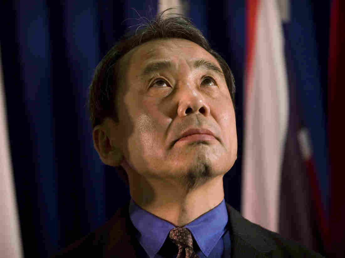 In a rare public appearance, Japanese novelist Haruki Murakami reacts before receiving the Jerusalem award during the International Book Fair in Jerusalem in 2009.