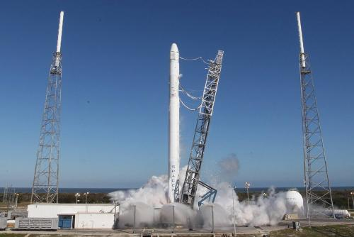 Hot fire check test of SpaceX first stage engines