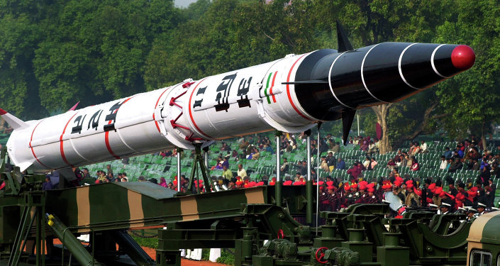 India's Agni II missile is seen in a rehearsal for the Republic Day Parade in New Delhi, India