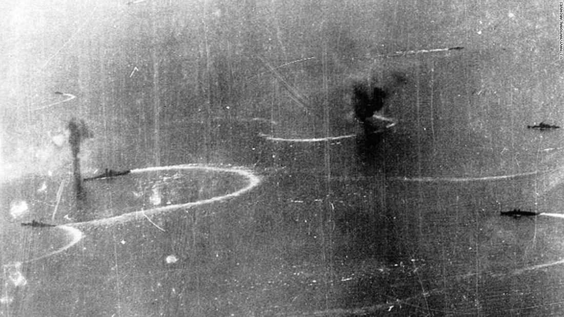 A Japanese battleship and other warships maneuver while under attack by U.S. carrier planes in the Sibuyan Sea. Two Japanese battleships, the Musashi and its sister ship, the Yamato, were involved in the battle.