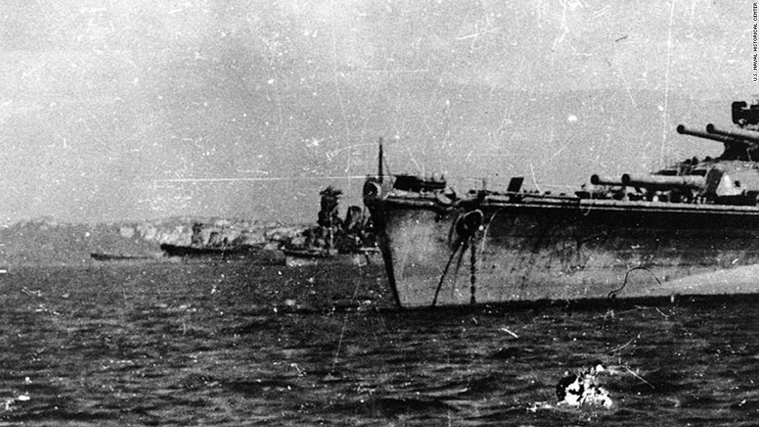 Japanese battleships and a cruiser are seen just before the Battle of Leyte Gulf.