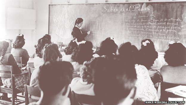 Japanese-Peruvians attend a class at the Federal High School in the Crystal City Internment Camp in Texas in 1944
