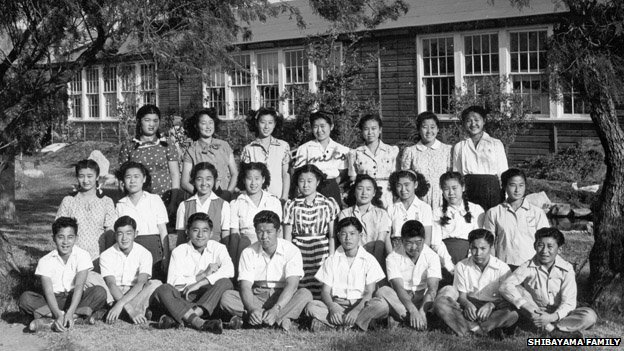 A group of children poses for a photo in Crystal City Camp in this undated photo