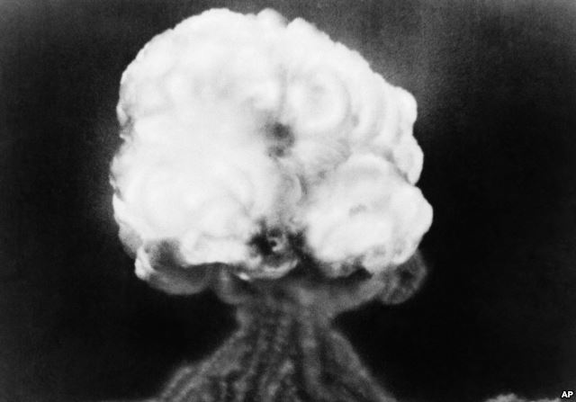 FILE - This is the mushroom cloud sent up by the first atomic explosion at the Trinity test site in New Mexico, July 16, 1945.