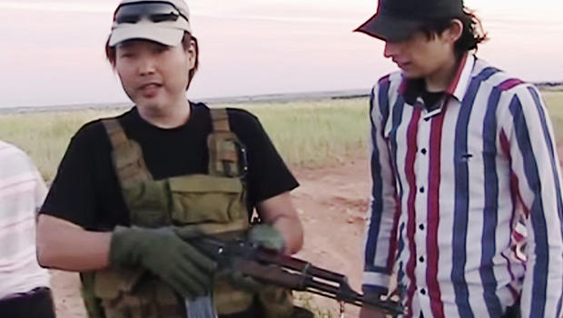 An image from video posted to Haruna Yukawa's blog shows him receiving weapons training with Syrian rebels